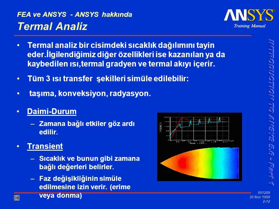 FEA ve ANSYS - ANSYS hakkında Termal Analiz
