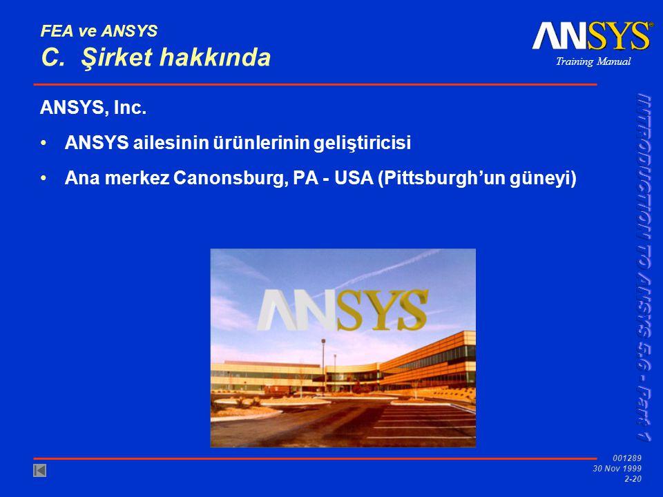 FEA ve ANSYS C. Şirket hakkında