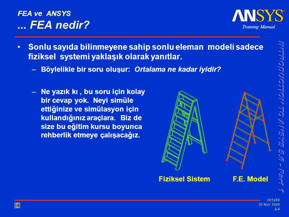 FEA ve ANSYS ... FEA nedir Sonlu sayıda bilinmeyene sahip sonlu eleman modeli sadece fiziksel systemi yaklaşık olarak yanıtlar.