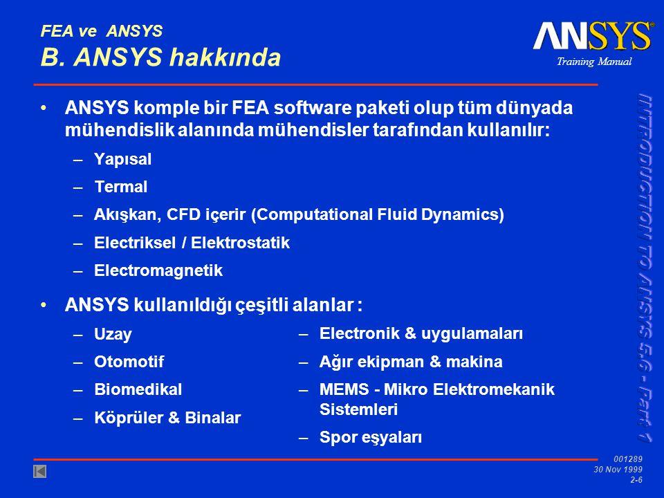 FEA ve ANSYS B. ANSYS hakkında