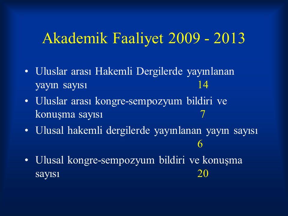 Akademik Faaliyet 2009 - 2013 Uluslar arası Hakemli Dergilerde yayınlanan yayın sayısı 14.