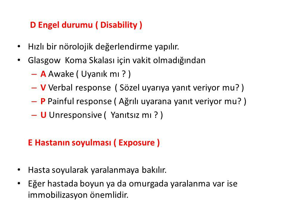 D Engel durumu ( Disability )