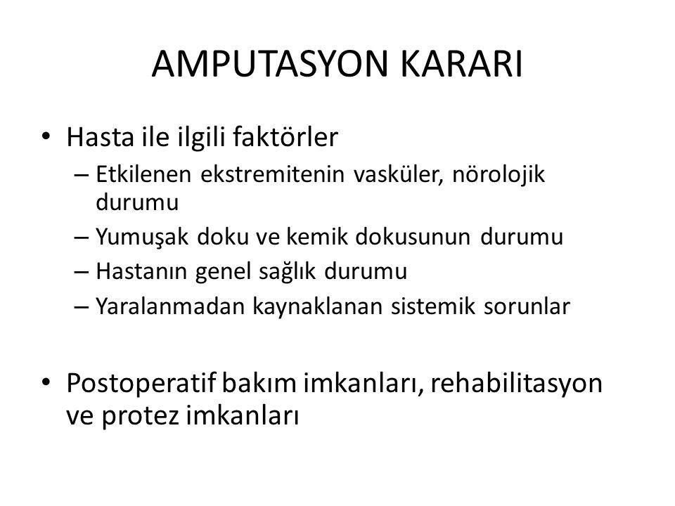 AMPUTASYON KARARI Hasta ile ilgili faktörler