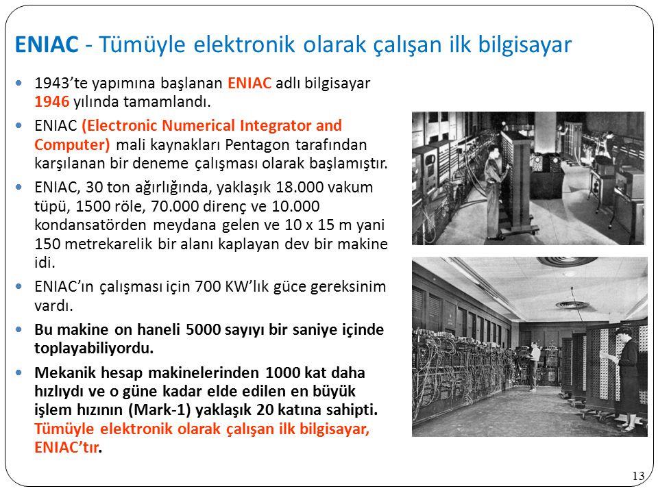 ENIAC - Tümüyle elektronik olarak çalışan ilk bilgisayar
