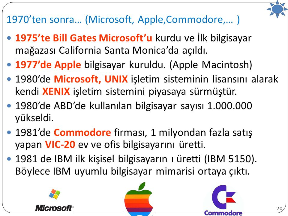 1970'ten sonra… (Microsoft, Apple,Commodore,… )