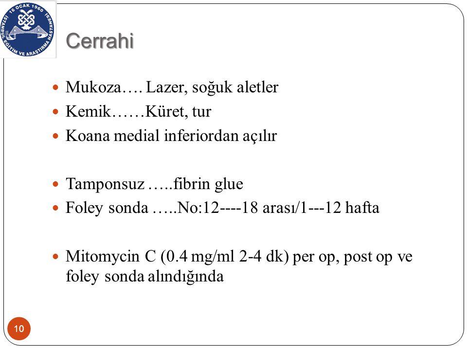 Cerrahi Mukoza…. Lazer, soğuk aletler Kemik……Küret, tur