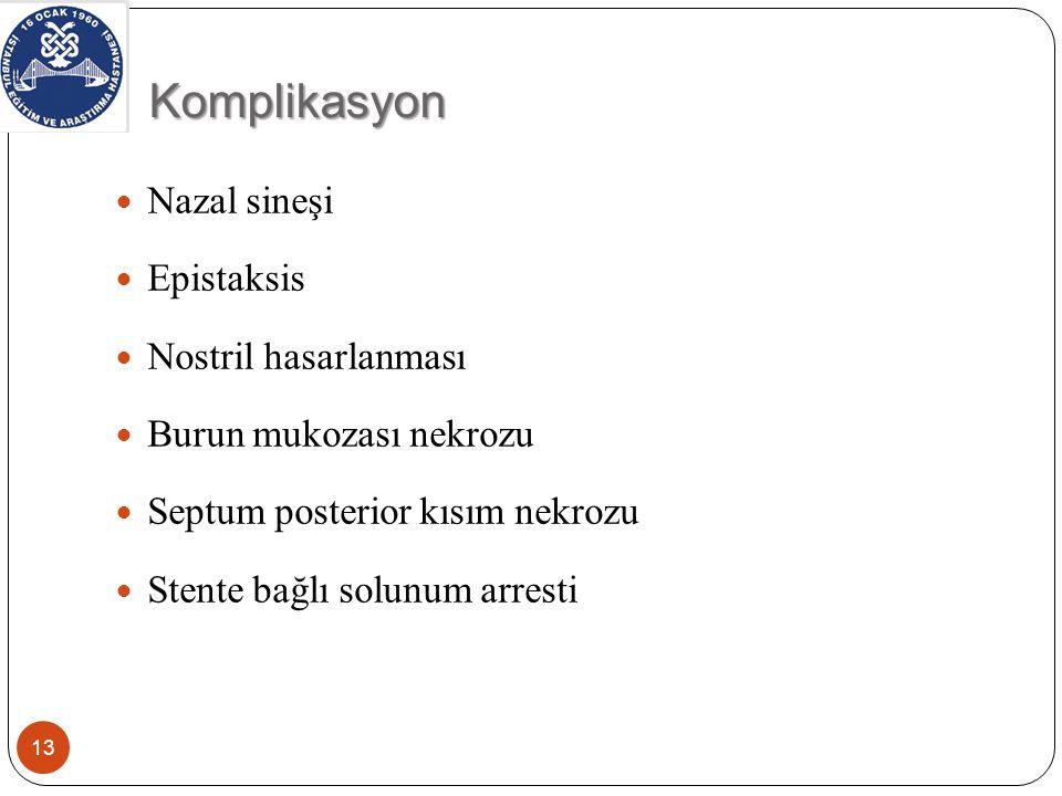 Komplikasyon Nazal sineşi Epistaksis Nostril hasarlanması