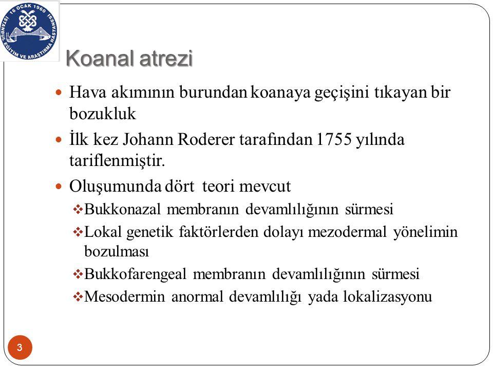 Koanal atrezi Hava akımının burundan koanaya geçişini tıkayan bir bozukluk. İlk kez Johann Roderer tarafından 1755 yılında tariflenmiştir.