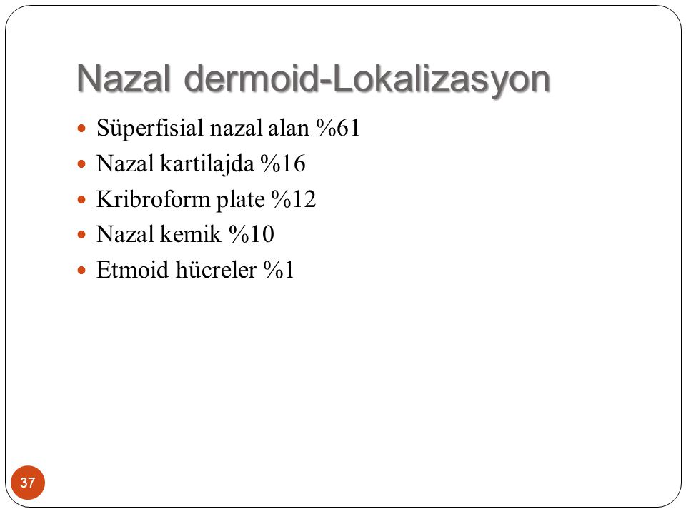 Nazal dermoid-Lokalizasyon