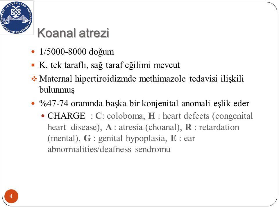 Koanal atrezi 1/5000-8000 doğum. K, tek taraflı, sağ taraf eğilimi mevcut. Maternal hipertiroidizmde methimazole tedavisi ilişkili bulunmuş.