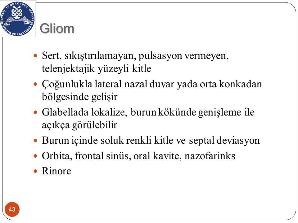 Gliom Sert, sıkıştırılamayan, pulsasyon vermeyen, telenjektajik yüzeyli kitle.