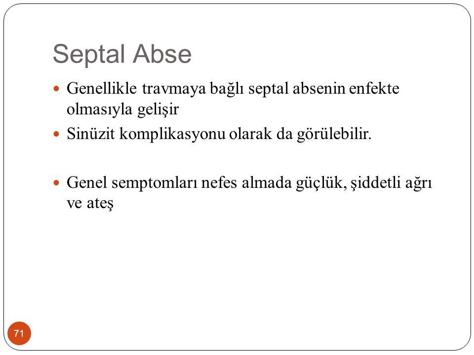 Septal Abse Genellikle travmaya bağlı septal absenin enfekte olmasıyla gelişir. Sinüzit komplikasyonu olarak da görülebilir.