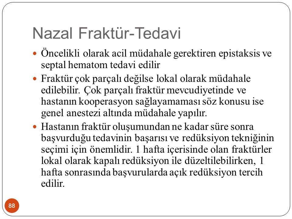 Nazal Fraktür-Tedavi Öncelikli olarak acil müdahale gerektiren epistaksis ve septal hematom tedavi edilir.