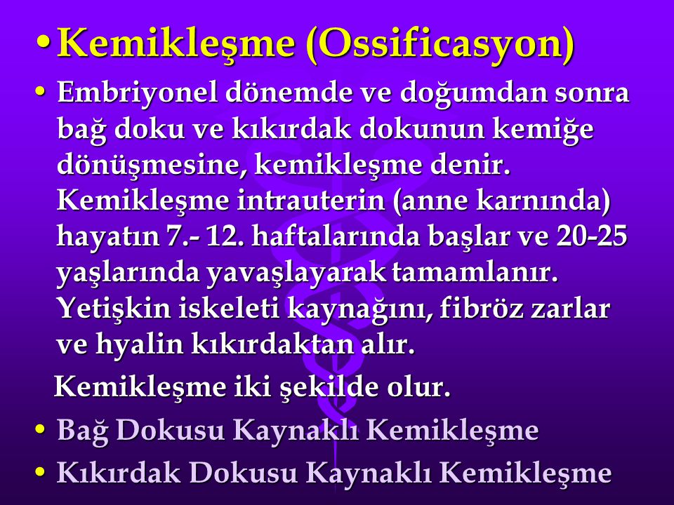 Kemikleşme (Ossificasyon)