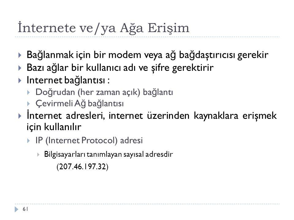 İnternete ve/ya Ağa Erişim