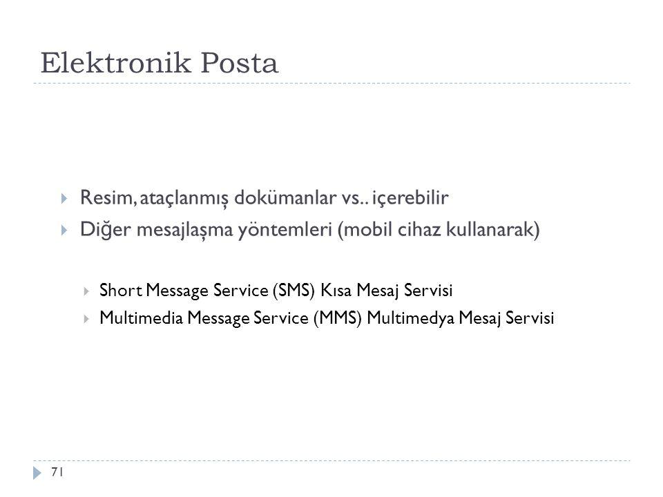 Elektronik Posta Resim, ataçlanmış dokümanlar vs.. içerebilir