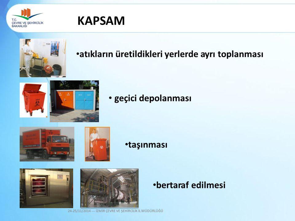 KAPSAM •atıkların üretildikleri yerlerde ayrı toplanması
