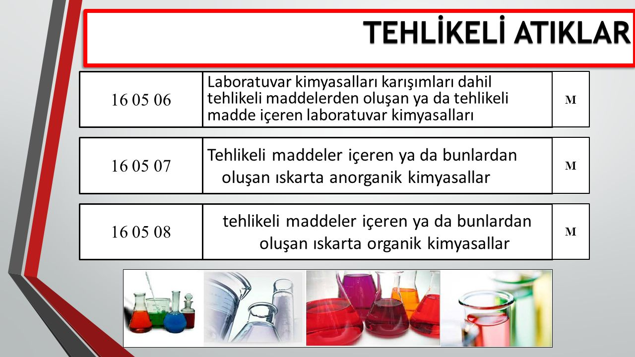 TEHLİKELİ ATIKLAR 16 05 06.