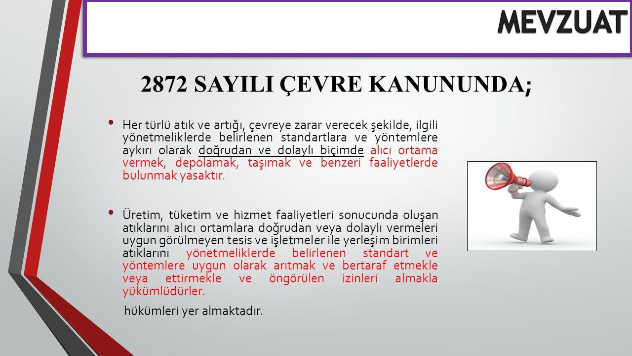2872 SAYILI ÇEVRE KANUNUNDA;