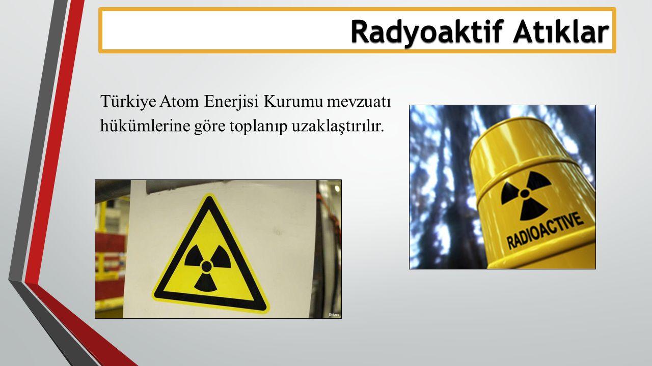Radyoaktif Atıklar Türkiye Atom Enerjisi Kurumu mevzuatı hükümlerine göre toplanıp uzaklaştırılır.