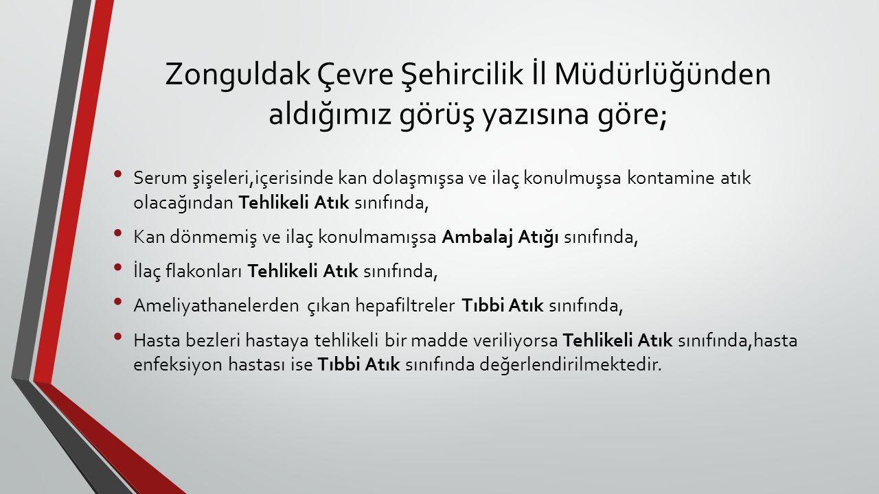Zonguldak Çevre Şehircilik İl Müdürlüğünden aldığımız görüş yazısına göre;