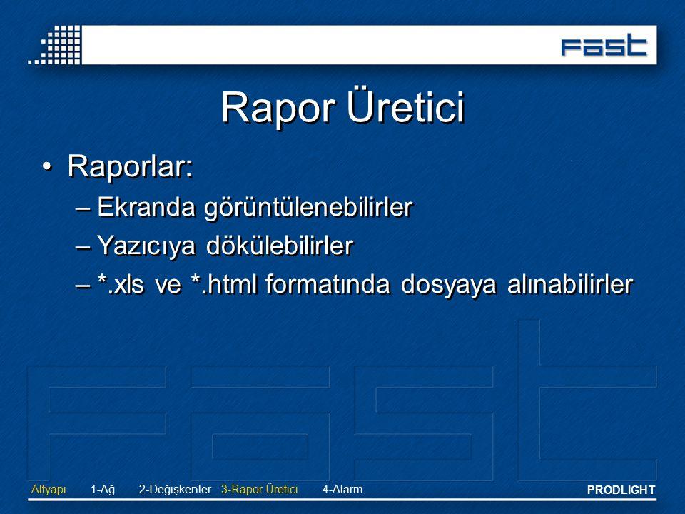 Rapor Üretici Raporlar: Ekranda görüntülenebilirler