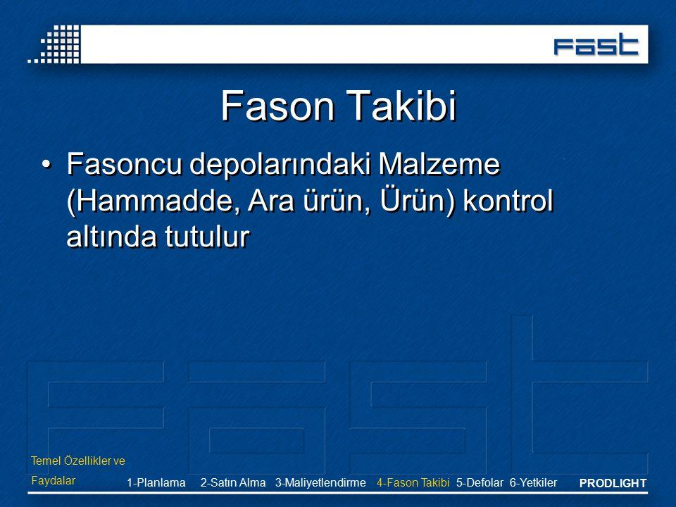 Fason Takibi Fasoncu depolarındaki Malzeme (Hammadde, Ara ürün, Ürün) kontrol altında tutulur. Temel Özellikler ve.
