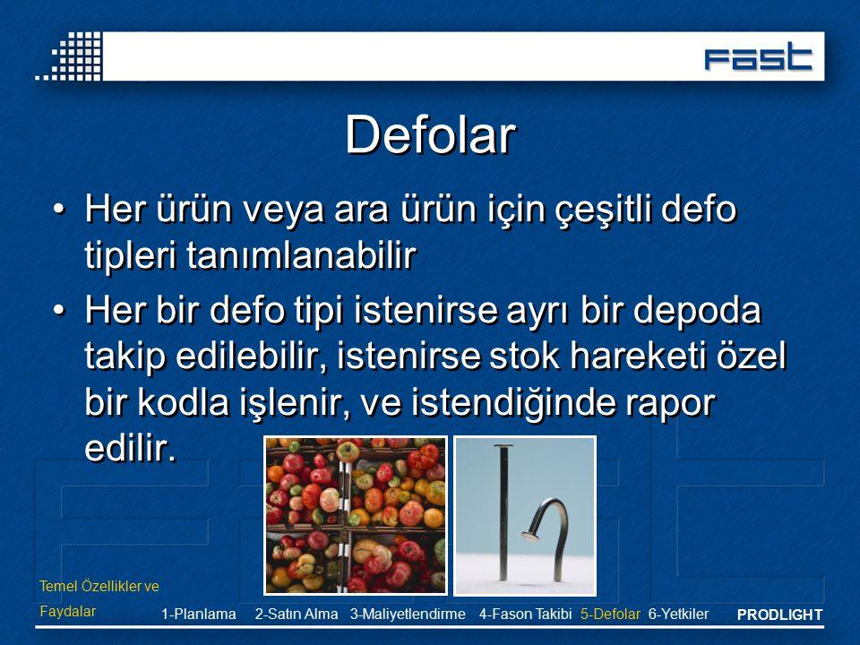 Defolar Her ürün veya ara ürün için çeşitli defo tipleri tanımlanabilir.