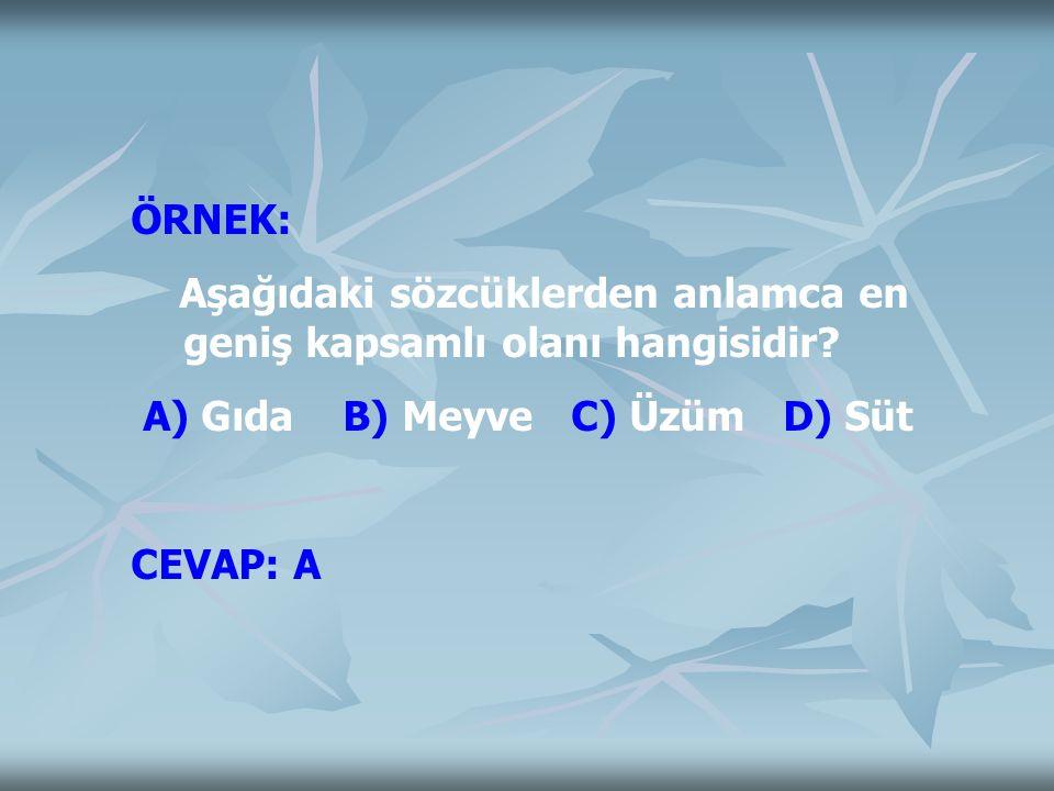 ÖRNEK: Aşağıdaki sözcüklerden anlamca en geniş kapsamlı olanı hangisidir A) Gıda B) Meyve C) Üzüm D) Süt.