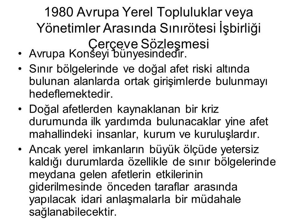 1980 Avrupa Yerel Topluluklar veya Yönetimler Arasında Sınırötesi İşbirliği Çerçeve Sözleşmesi