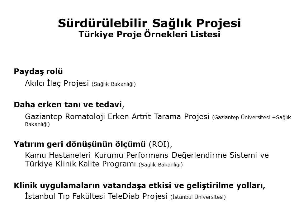 Sürdürülebilir Sağlık Projesi Türkiye Proje Örnekleri Listesi