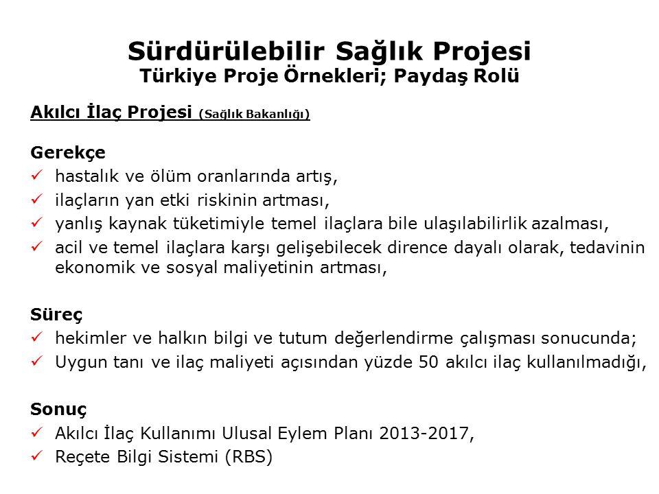 Sürdürülebilir Sağlık Projesi Türkiye Proje Örnekleri; Paydaş Rolü
