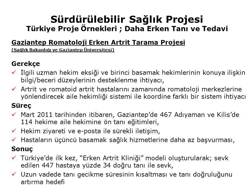 Sürdürülebilir Sağlık Projesi Türkiye Proje Örnekleri ; Daha Erken Tanı ve Tedavi