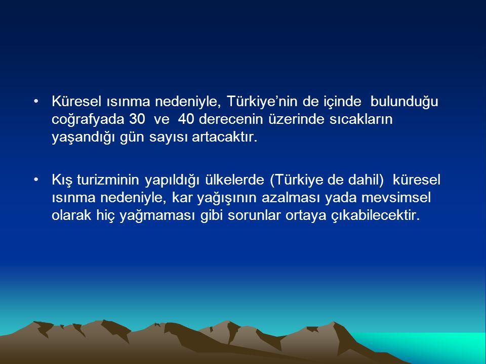 Küresel ısınma nedeniyle, Türkiye'nin de içinde bulunduğu coğrafyada 30 ve 40 derecenin üzerinde sıcakların yaşandığı gün sayısı artacaktır.