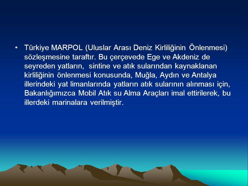 Türkiye MARPOL (Uluslar Arası Deniz Kirliliğinin Önlenmesi) sözleşmesine taraftır.
