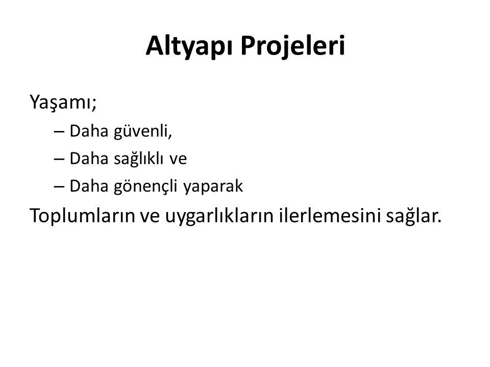 Altyapı Projeleri Yaşamı;