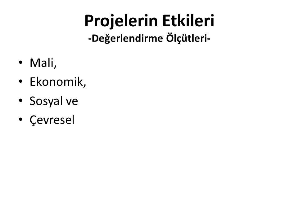 Projelerin Etkileri -Değerlendirme Ölçütleri-