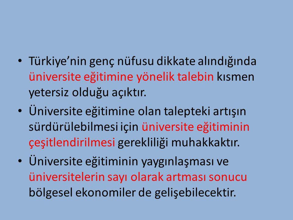Türkiye'nin genç nüfusu dikkate alındığında üniversite eğitimine yönelik talebin kısmen yetersiz olduğu açıktır.
