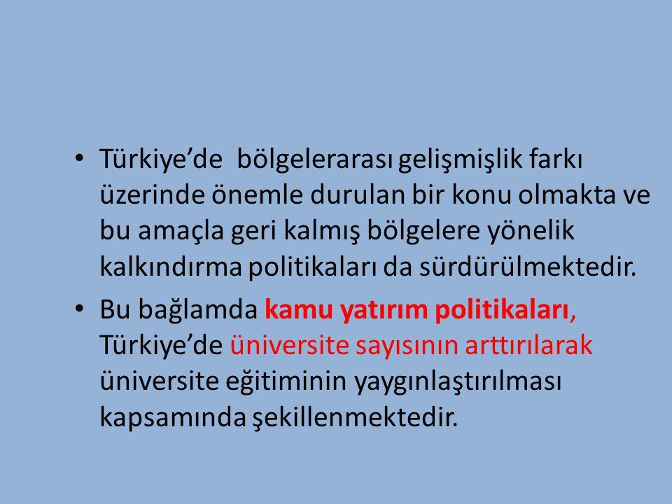 Türkiye'de bölgelerarası gelişmişlik farkı üzerinde önemle durulan bir konu olmakta ve bu amaçla geri kalmış bölgelere yönelik kalkındırma politikaları da sürdürülmektedir.