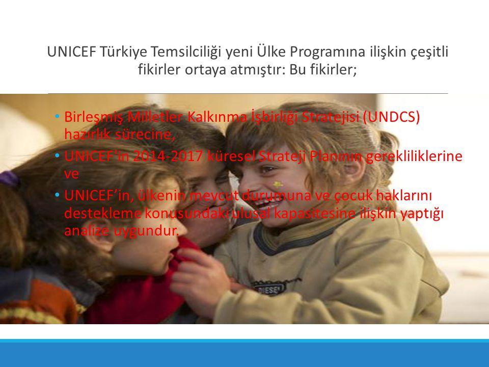 UNICEF Türkiye Temsilciliği yeni Ülke Programına ilişkin çeşitli fikirler ortaya atmıştır: Bu fikirler;