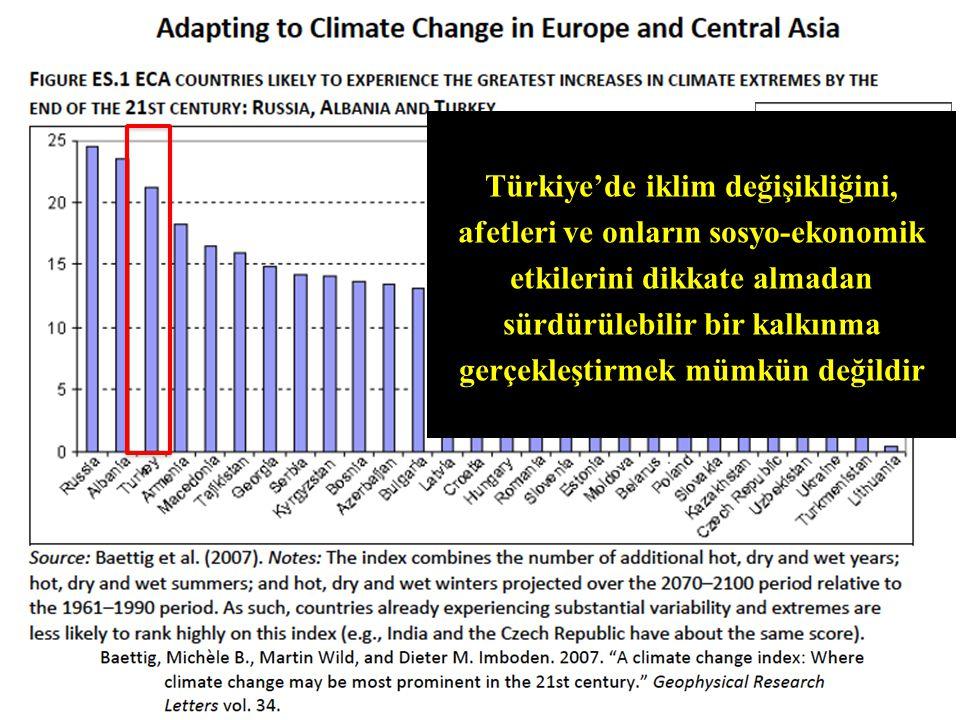 Türkiye'de iklim değişikliğini, afetleri ve onların sosyo-ekonomik etkilerini dikkate almadan sürdürülebilir bir kalkınma gerçekleştirmek mümkün değildir