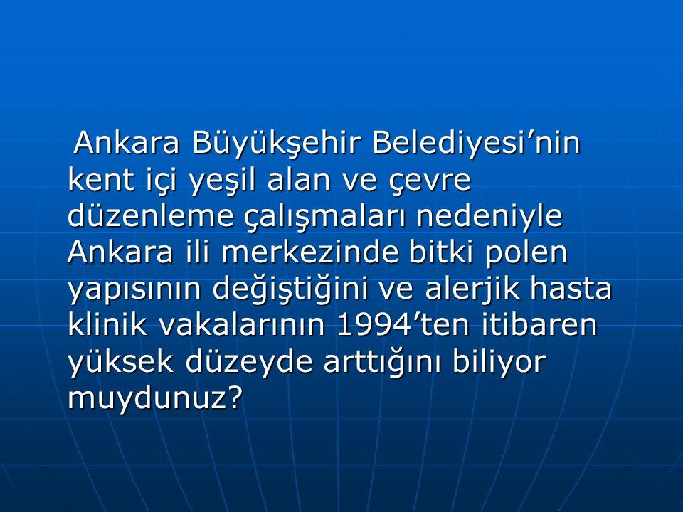 Ankara Büyükşehir Belediyesi'nin kent içi yeşil alan ve çevre düzenleme çalışmaları nedeniyle Ankara ili merkezinde bitki polen yapısının değiştiğini ve alerjik hasta klinik vakalarının 1994'ten itibaren yüksek düzeyde arttığını biliyor muydunuz