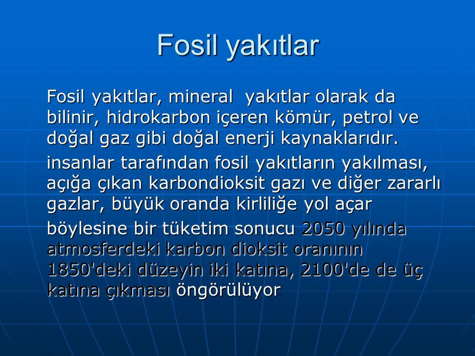 Fosil yakıtlar Fosil yakıtlar, mineral yakıtlar olarak da bilinir, hidrokarbon içeren kömür, petrol ve doğal gaz gibi doğal enerji kaynaklarıdır.