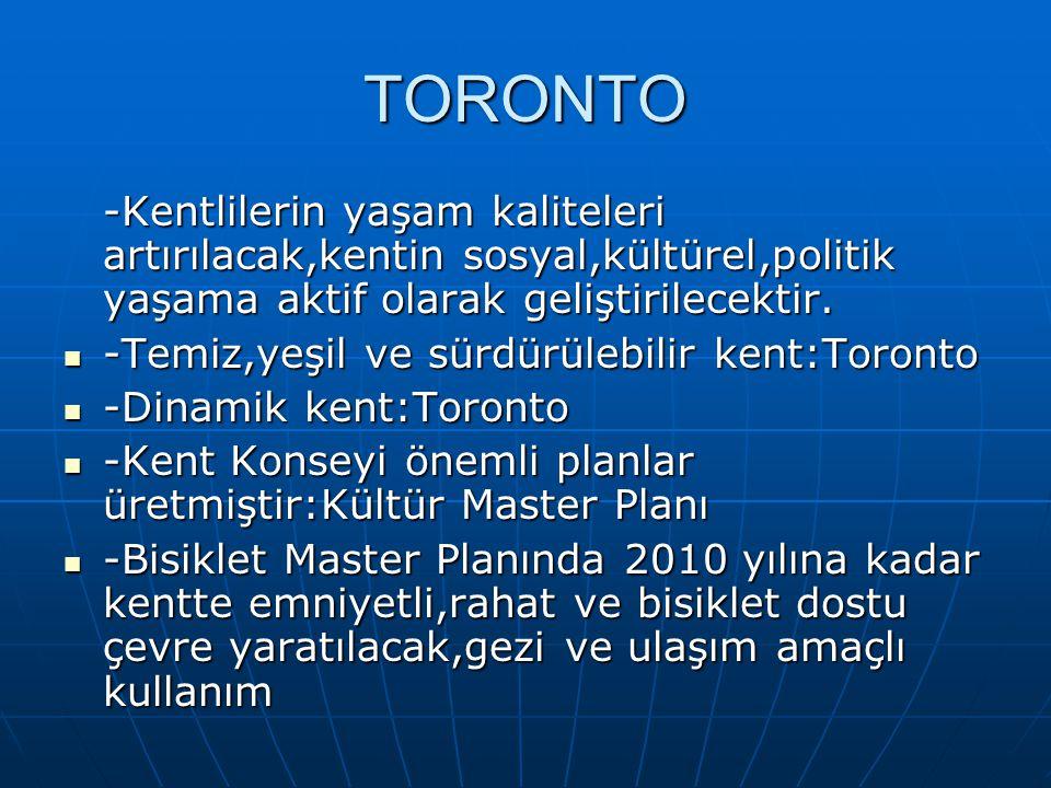 TORONTO -Kentlilerin yaşam kaliteleri artırılacak,kentin sosyal,kültürel,politik yaşama aktif olarak geliştirilecektir.