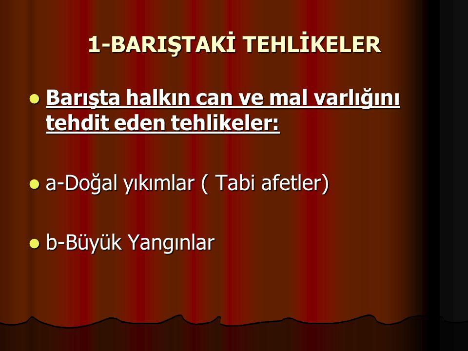 1-BARIŞTAKİ TEHLİKELER