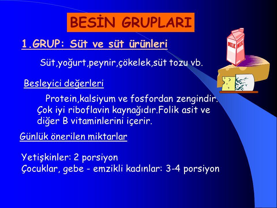 BESİN GRUPLARI 1.GRUP: Süt ve süt ürünleri