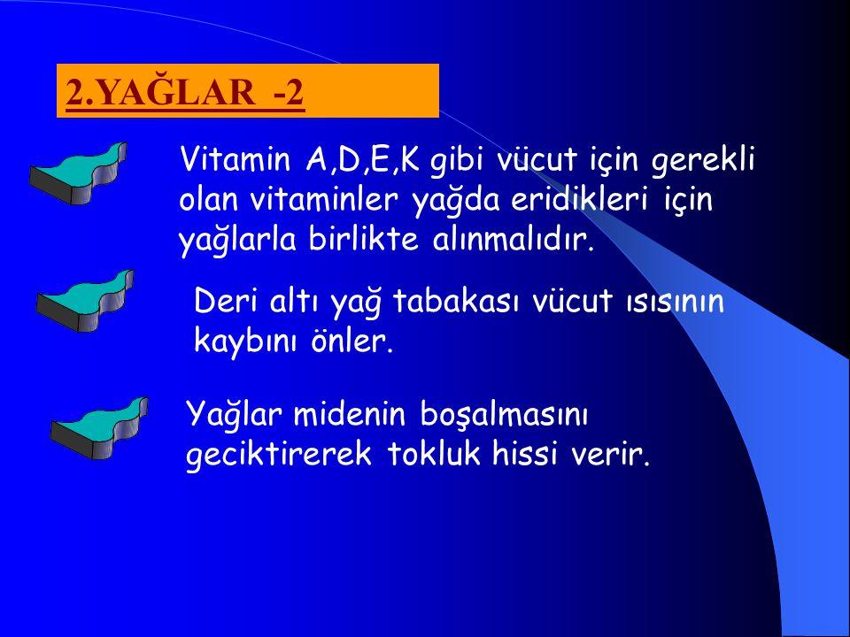 2.YAĞLAR -2 Vitamin A,D,E,K gibi vücut için gerekli olan vitaminler yağda eridikleri için yağlarla birlikte alınmalıdır.