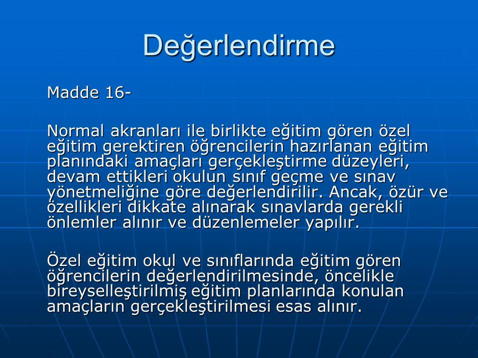 Değerlendirme Madde 16-