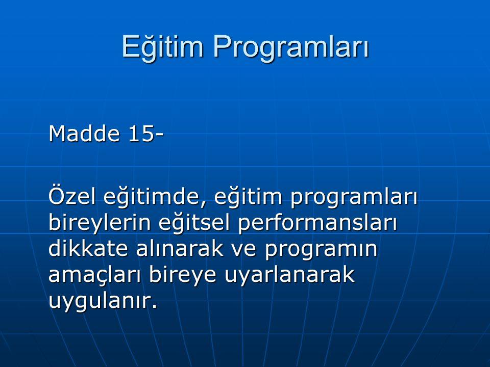 Eğitim Programları Madde 15-