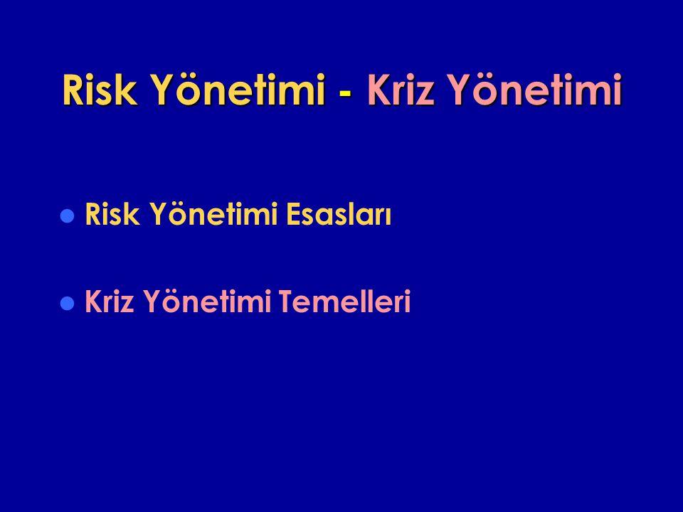Risk Yönetimi - Kriz Yönetimi